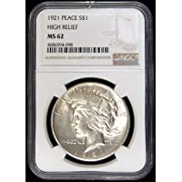 1921 - High Relief United States Peace Silver Dollar $1 MS-62 NGC