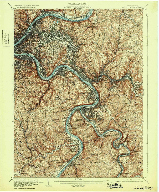Amazon.com : YellowMaps Pittsburgh PA topo map, 1:62500 ...