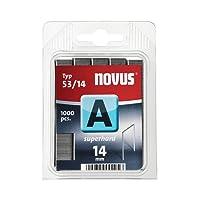 Novus Feindrahtklammern superhart 14 mm, 1000 Tacker-Klammern vom Typ 53/14 aus Stahldraht, für Stoff und Holz