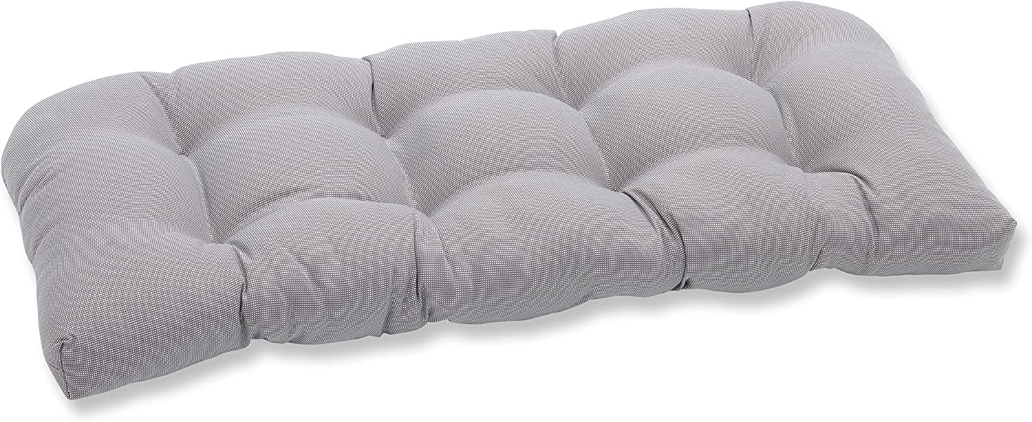 """Pillow Perfect 591421 Outdoor/Indoor Tweed Tufted Loveseat Cushion, 44"""" x 19"""", Gray"""