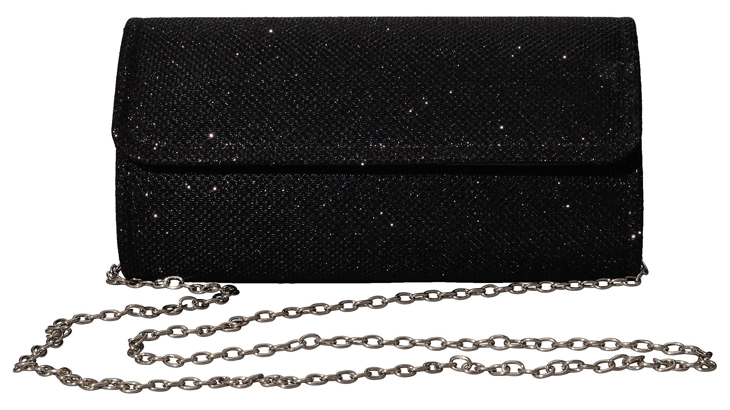 Outrip Women's Evening Bag Clutch Purse Glitter Party Wedding Handbag with Chain (Black)