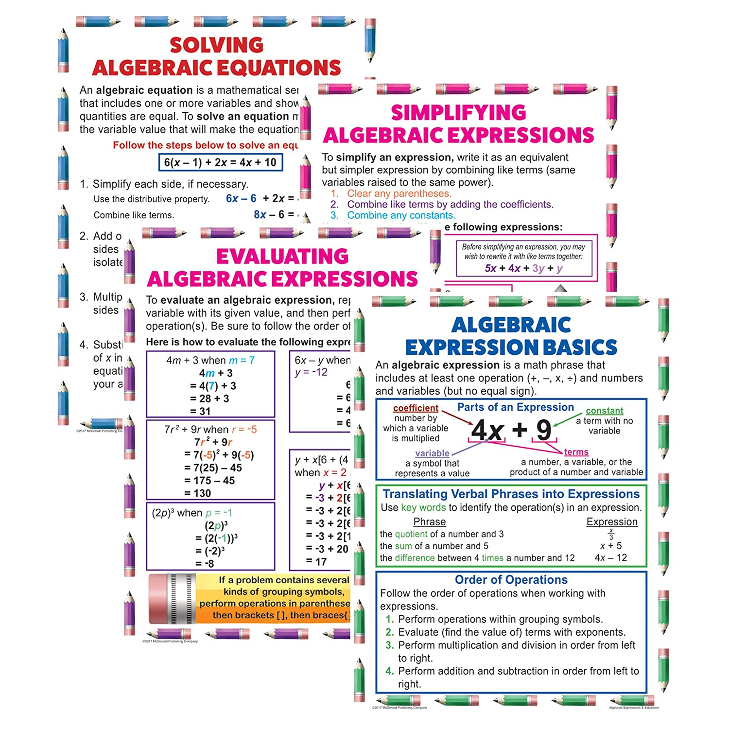 Amazon Mcdonald Publishing Mc P088 Algebraic Expressions