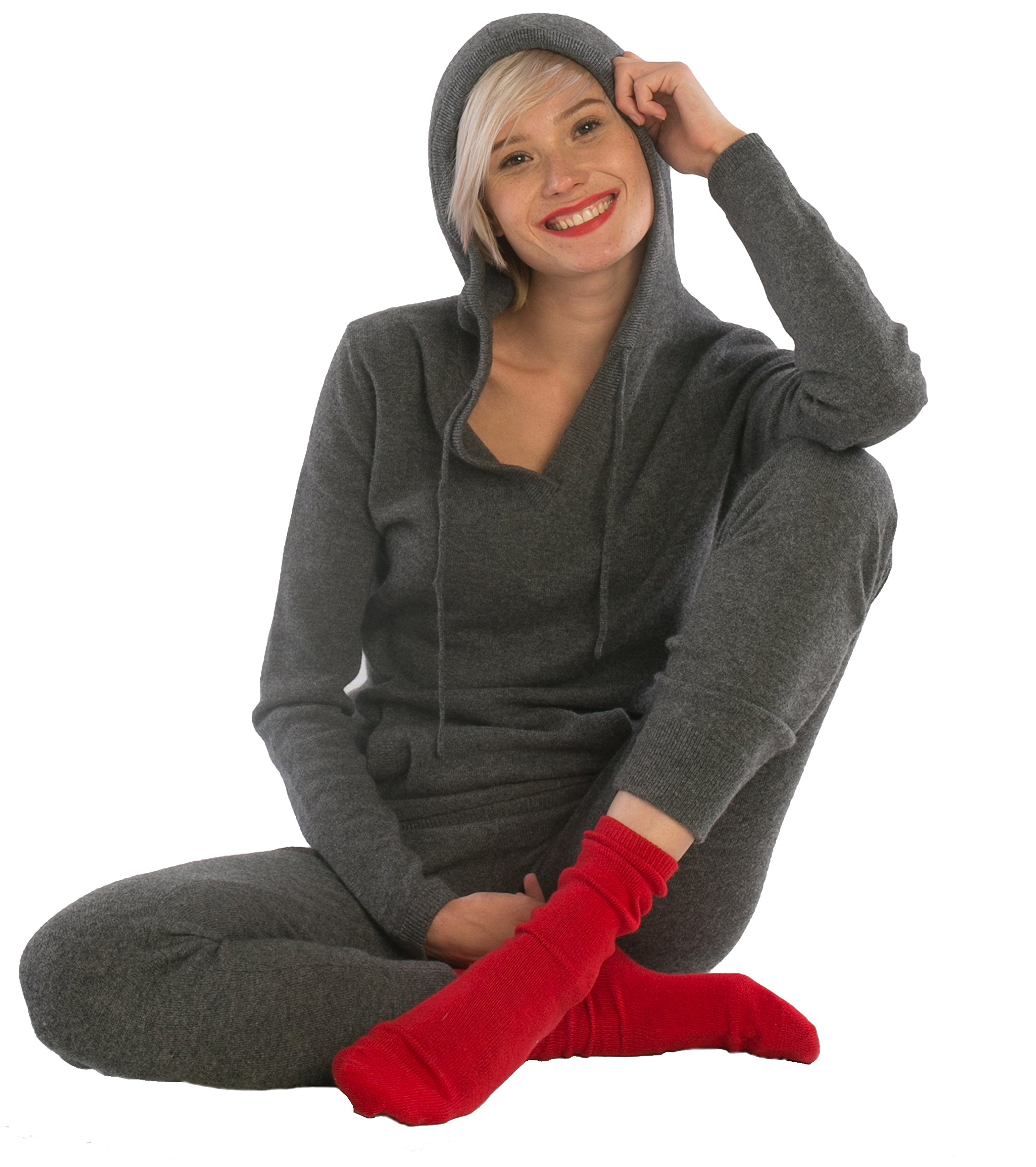cashmere 4 U Women's 100% Cashmere V Neck Hoodie Sweater Pullover (X-Large, Gris Moyen) by cashmere 4 U (Image #2)