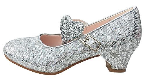 Elsa Sevillanas Señorita Princesa Corazón Amazon Flamenco Frozen Zapatos Complementos Purpurina Niña La Y es Plata De Zapato YwdCWq