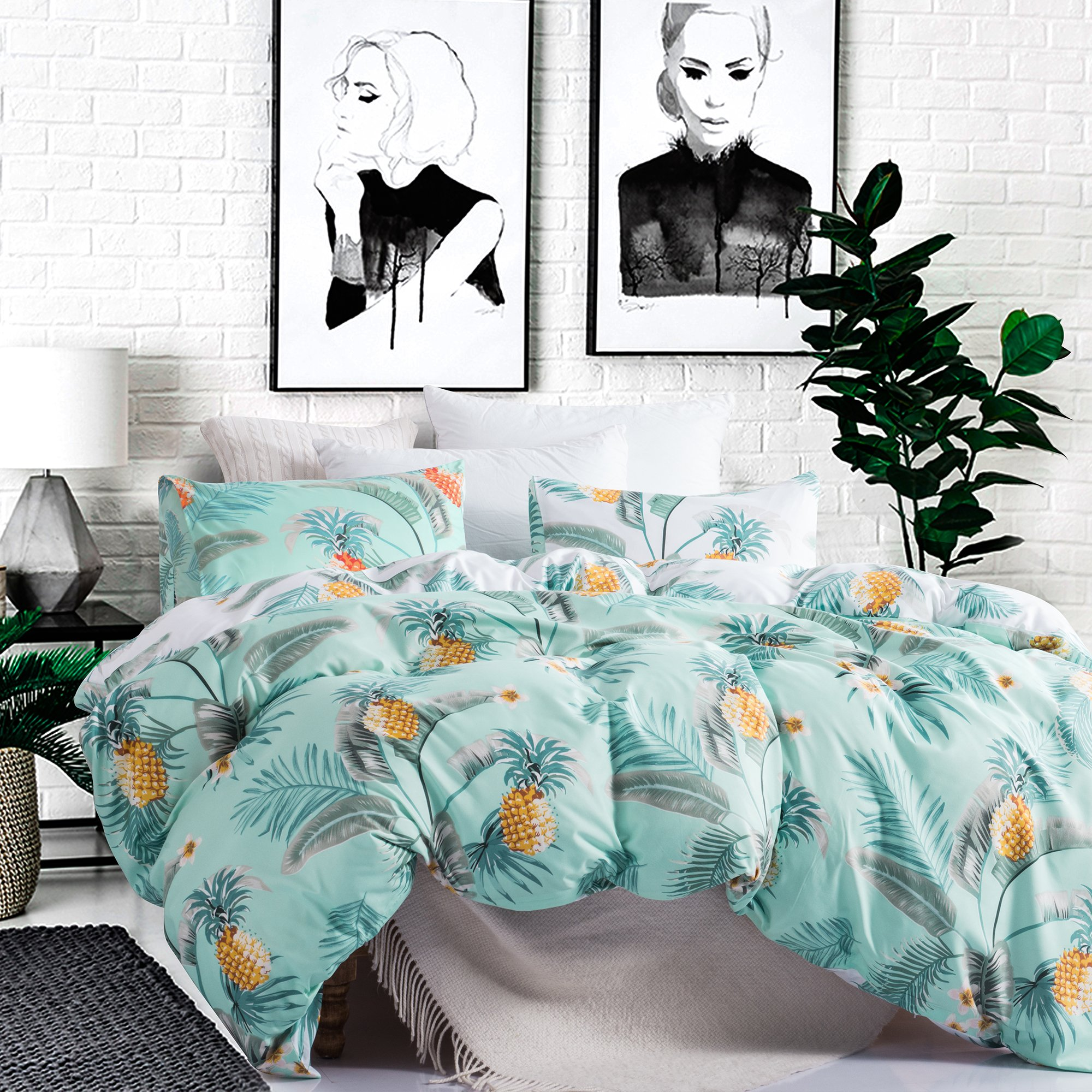 Carisder Microfiber Duvet Cover Set Polyester Bedding Set Girls Floral Bohemia Bed Sheet Set AB Version Pineapple Queen by Carisder