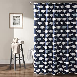 "Lush Decor, Navy Whale Shower Curtain-Fabric Ocean Fish Animal Print Design for Kids, 72"" x 72"""