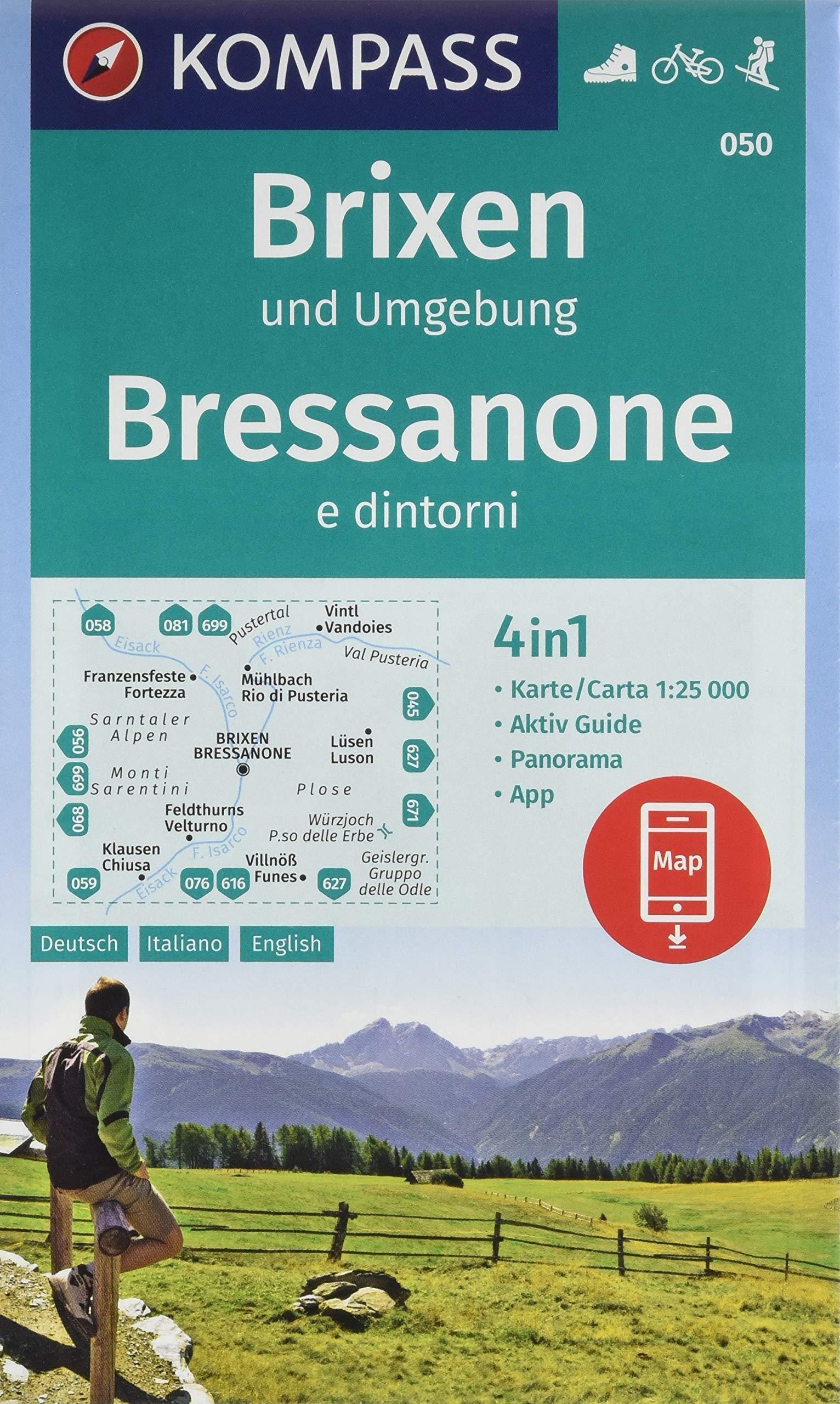 Brixen und Umgebung, Bressanone e dintorni: 4in1 Wanderkarte 1:25000 mit Panorama und Aktiv Guide inklusive Karte zur offline Verwendung in der ... Skitouren. (KOMPASS-Wanderkarten, Band 50) Landkarte – Folded Map, 2. Juli 2018 KOMPASS-Karten GmbH 39904447