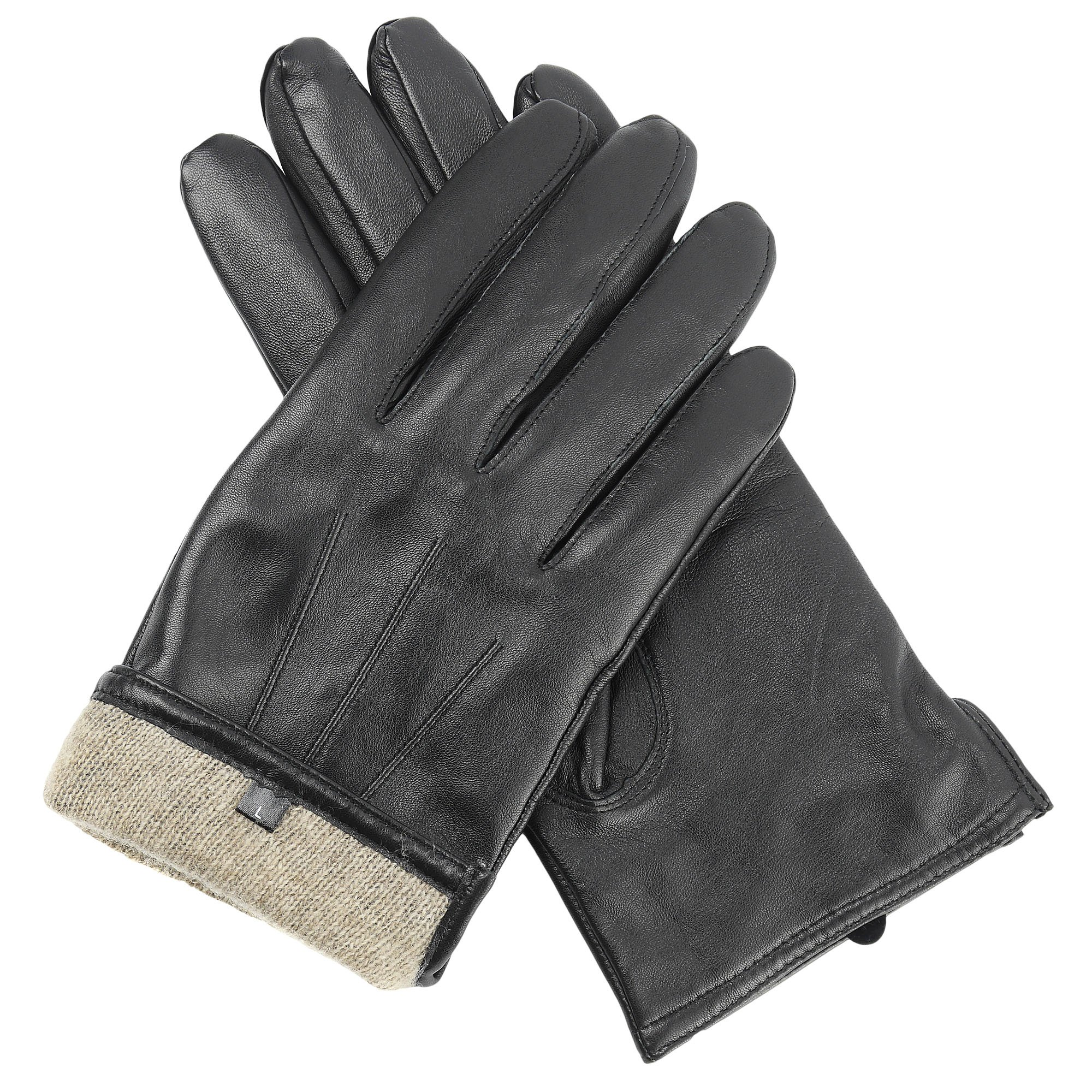 Candor and Class Men's Sheepskin Leather Gloves with Cashmere Lining (Black, Large)