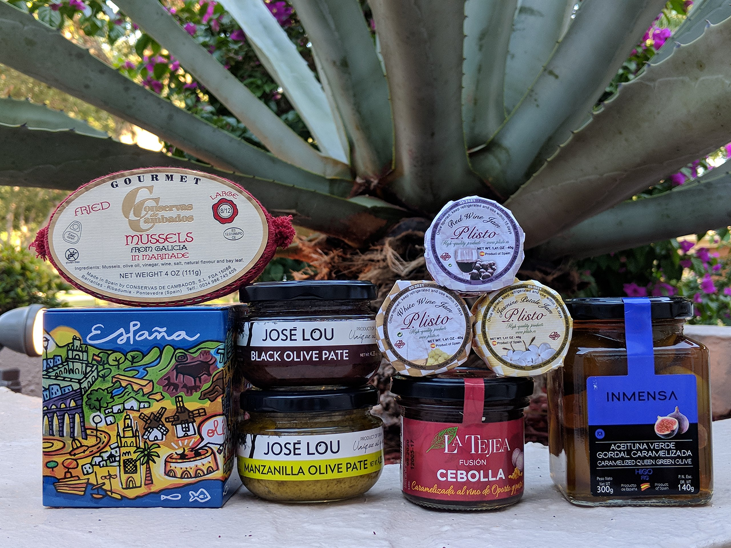 St Miguel Market Food Gift Basket - Chef Ole - ENJOY LIFE, OPEN IT AND HAVE FUN PERFECT FOR WINE LOVERS. ARTISAN JAMS, OLIVE PATES, CARAMELIZED ONIONS WITH PORT & RAISINS, OLIVE FILLED W/FIGS, MUSSELS