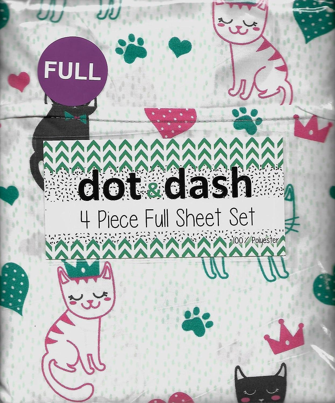Dot & Dash Meow gatos Mulitcolor Full 4 piezas Juego de sábanas gatos patas, corazones, coronas.: Amazon.es: Hogar