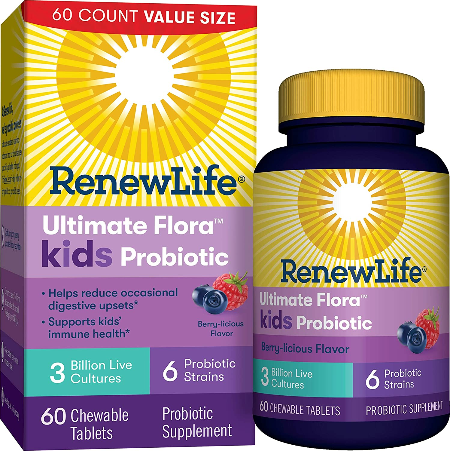 Renew Life Kids Probiotic - Ultimate Flora Kids Probiotic Supplement - Shelf Stable, Gluten, Dairy & Soy Free - 3 Billion CFU - Berry-licious, 60 Chewable Tablets (Packaging May Vary)