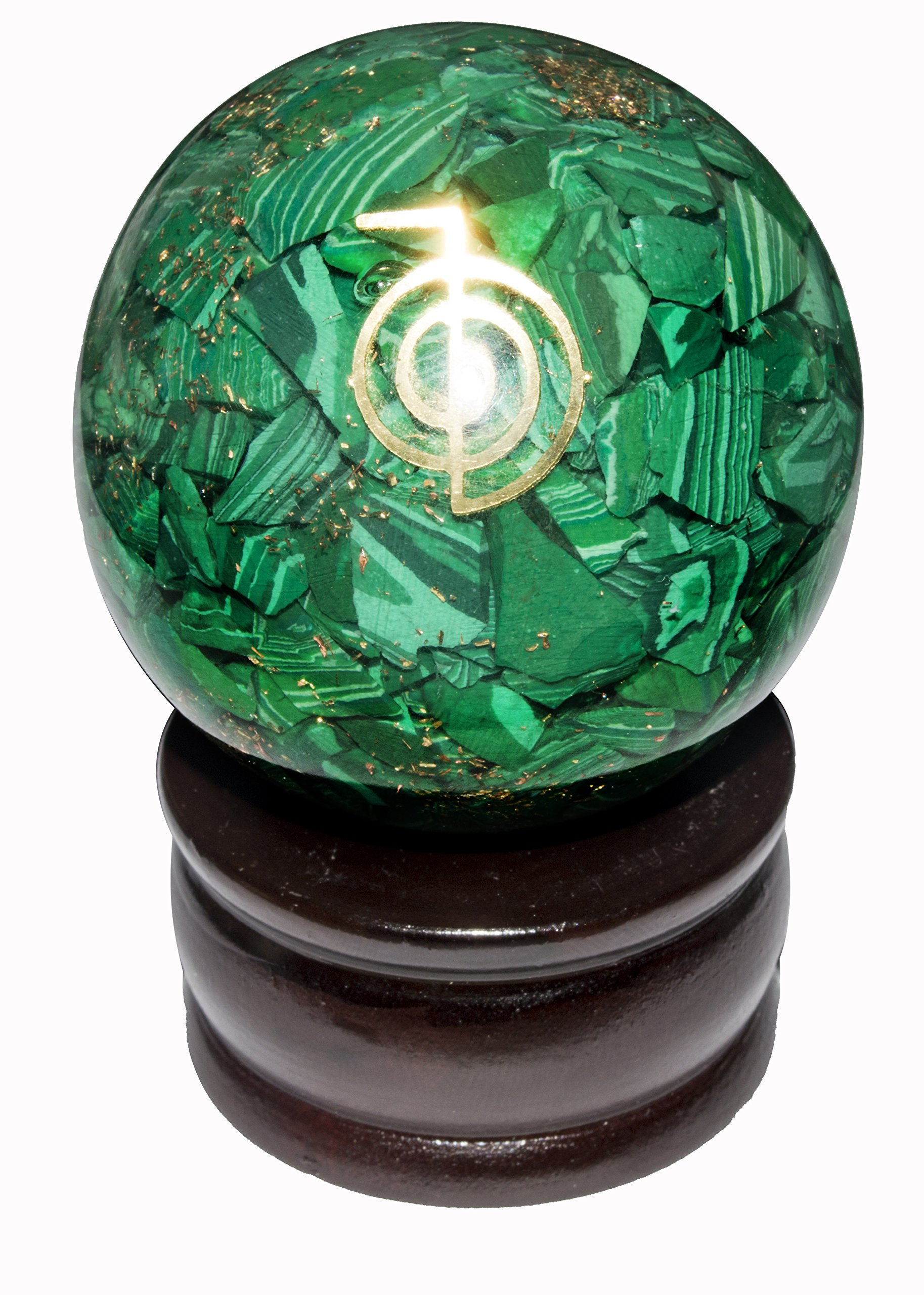 Crocon Green Malachite Orgone Sphere Ball Cho Ku Rei Symbol Energy Generator for Reiki Healing Chakra Balancing & EMF Protection Size: 50-60mm