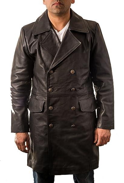3aafd10d2180 Cappotto di cuoio nero del Mens pelle bovina in stile militare  tedesco  Major .