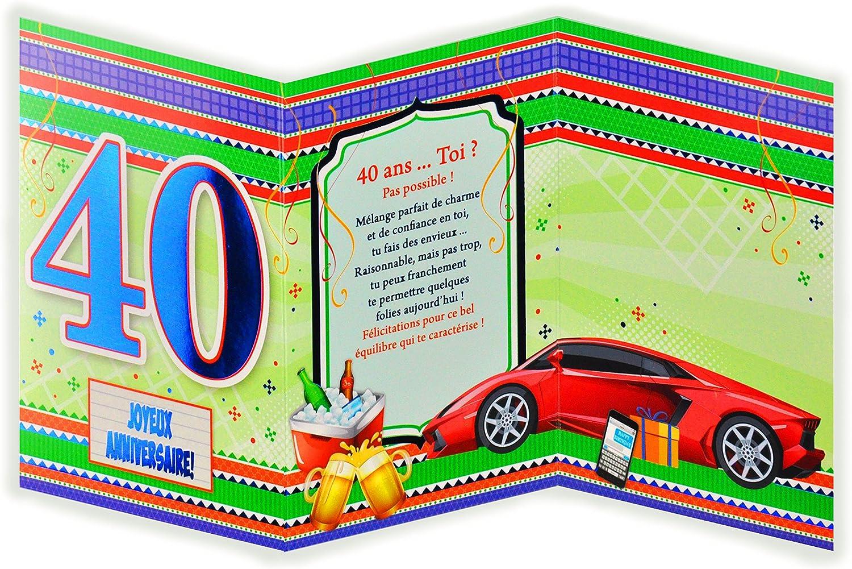 Fournitures De Bureau Carte De Vœux Et Enveloppes D Invitation Afie 882132 B Carte 3 Volets Joyeux Anniversaire 40 Ans