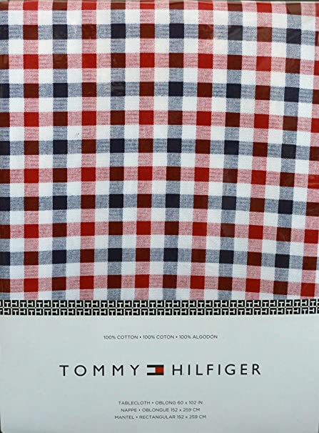 Tommy Hilfiger Red, White And Blue Checked Plaid Tablecloth, 60 By 102