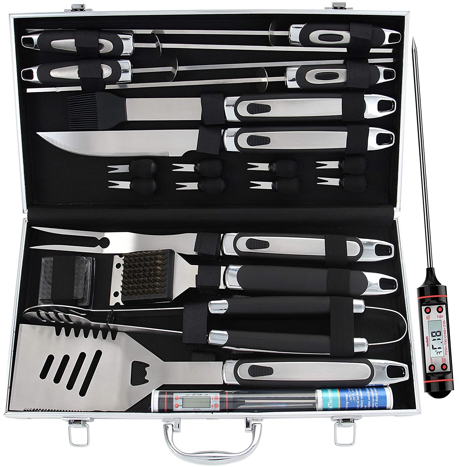 ROMANTICIST 21pc BBQ Grill Accessories Set with Thermometer - Heavy Duty Stainless Steel Barbecue Grilling Utensils with Non-Slip Handle in Aluminum Storage Case for Men Women