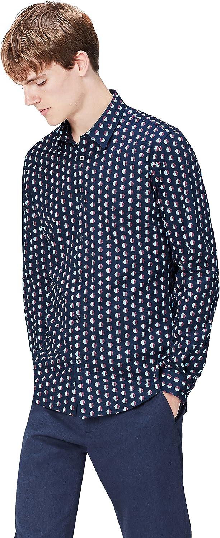 find. Camisa Entallada de Lunares para Hombre, Azul (Navy), Small: Amazon.es: Ropa y accesorios