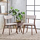 Caleb Mid-Century Walnut Finished Frame Dining Chairs (Set of 2) (Light Beige)