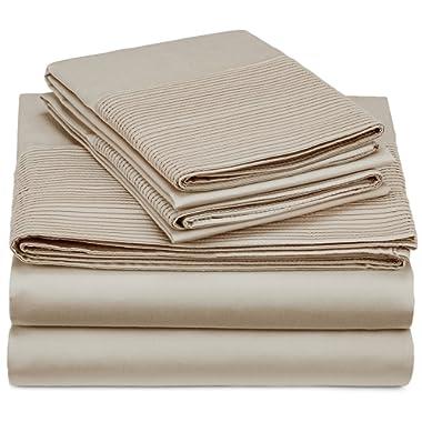 Pinzon 400-Thread-Count Egyptian Cotton Sateen Pleated Hem Sheet Set - Queen, Parchment