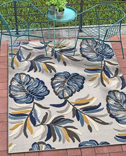 Well Woven Dorado Wilmington Blue Modern Tropical Leaves 7 10 x 9 10 High-Low Indoor Outdoor Area Rug