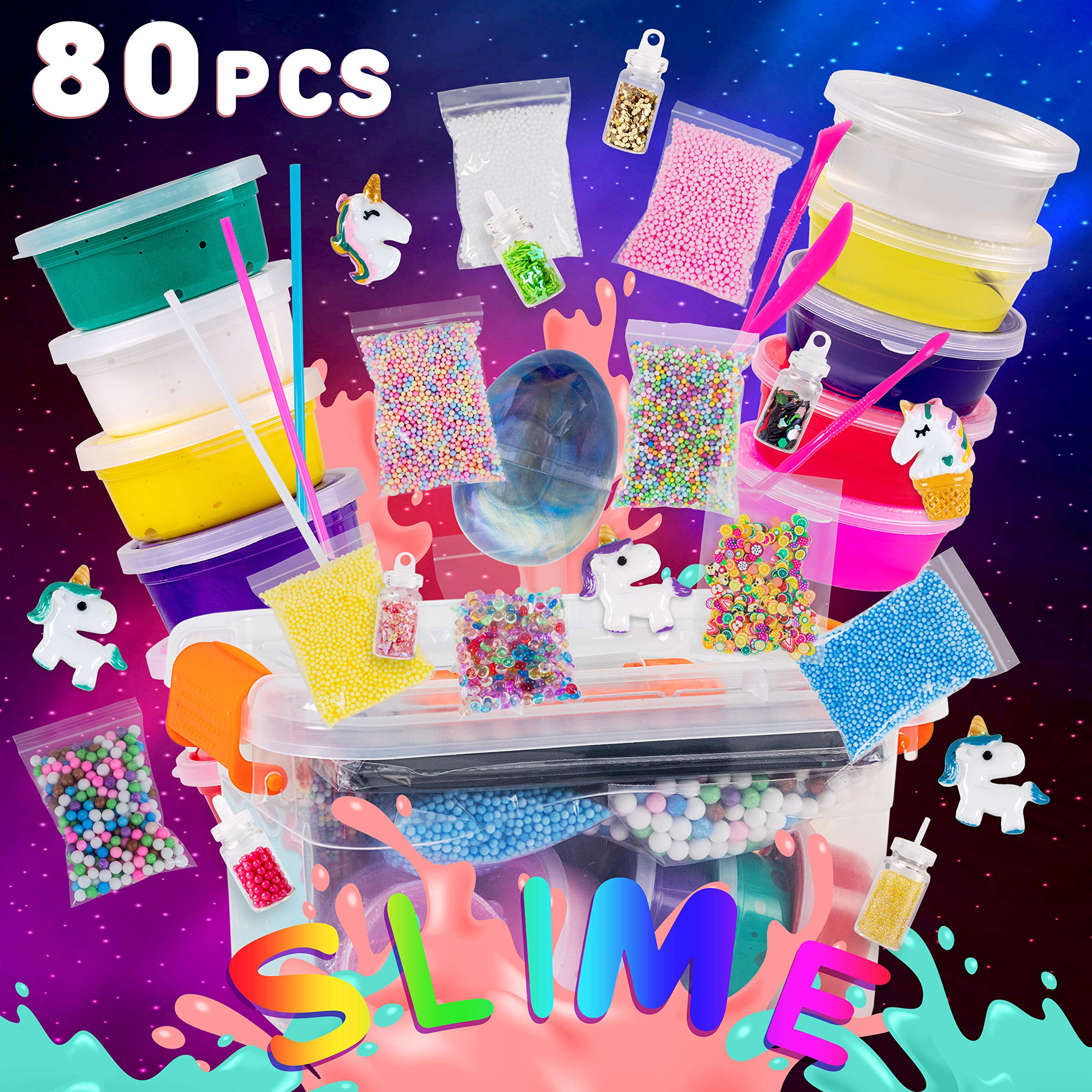 Slime Kit for Girls and Boys - 80 pcs Large DIY Set - Slime Making Kit Supplies - All in One Box with Unicorn Toys, Glitter, Slime Foam Beads - Perfect Birthday Toys Gift for 3-12 Year Age Old by JAMTOYS
