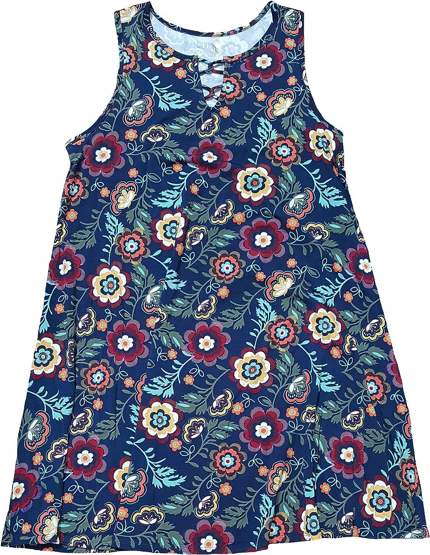 Women's Plus Size Blue Cove Floral Print Generous Fit Sleeveless Tank Dress