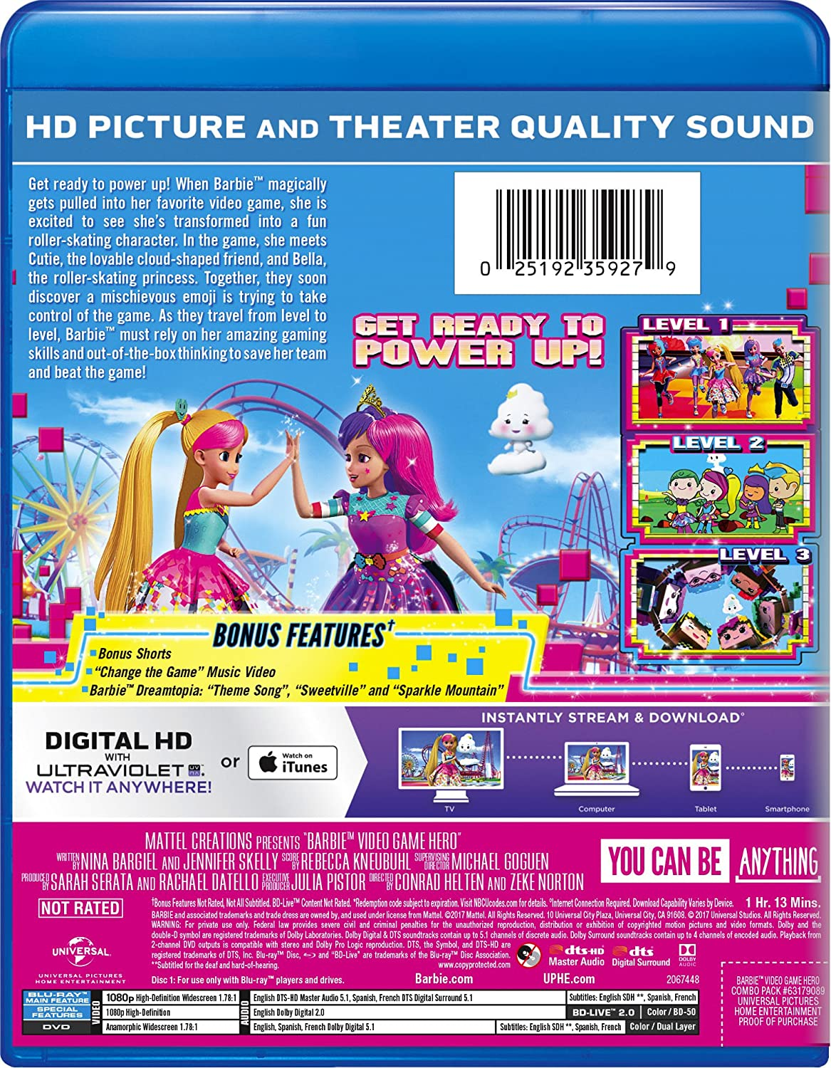 Amazon Barbie Video Game Hero Blu Ray Erica Lindbeck Sienna Bohn Shannon Chan Kent Michael Dobson Alyssya Swales Rebekah Asselstine