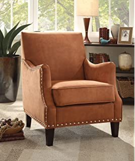acme furniture sinai accent chair orange fabric