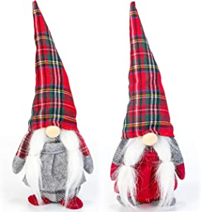 Costyleen Handmade Swedish Tomte Scandinavian Christmas Santa Gnome Plush Home Ornaments Table Decor Festival Decoration Xmas Gifts 2pc - Plaid Hat with Braid 10.6 inches