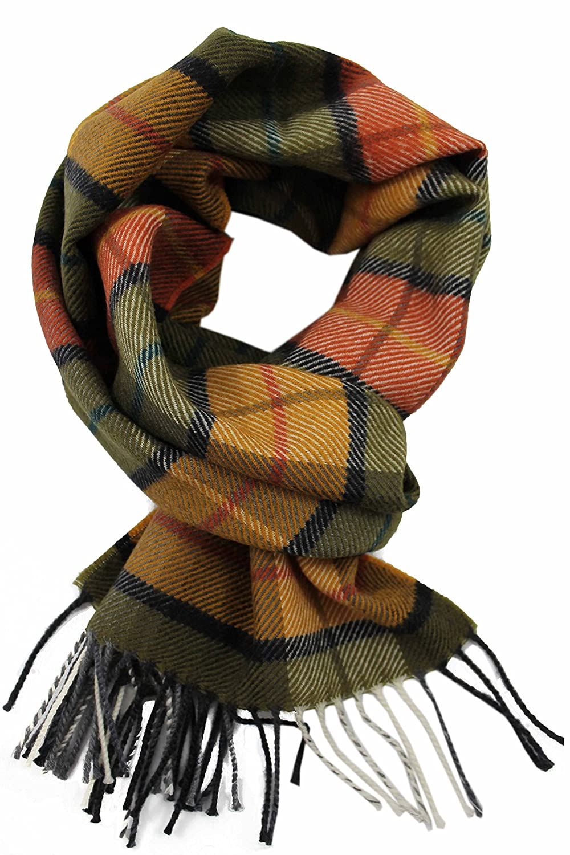 Bufanda, cuadros, Verde, Naranja, Amarillo, 100% pura lana (Merino) he2013we1348/4