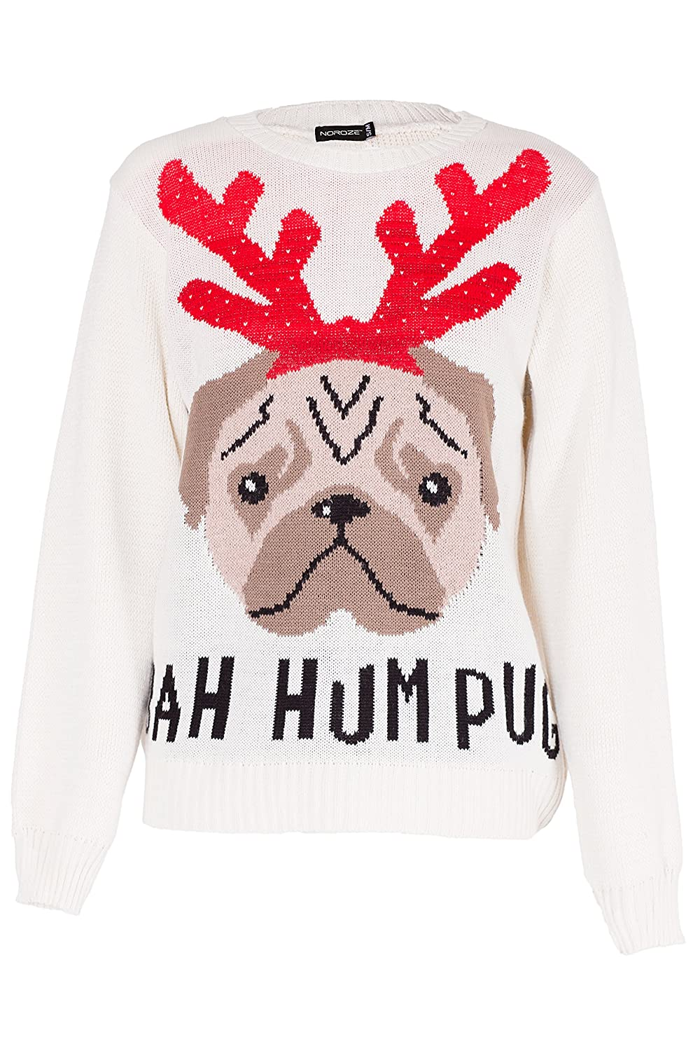 NOROZE Femmes Noël Pull Over Bah Hum Pug Chien Pullover Pull