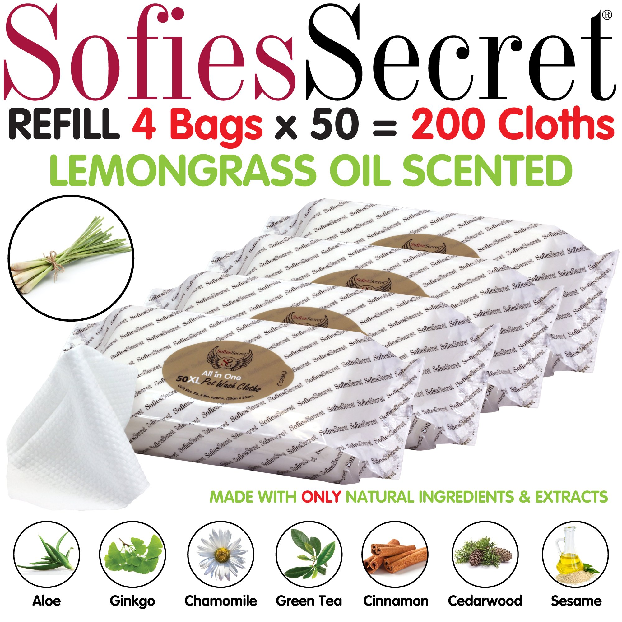 SofiesSecret XL PET Wipes, 200 XL, Lemongrass Oil, All in One Grooming, for Paws, Coat, Skin, Face, Ears and Teeth, Made with only Naturally derived Ingredients, Oils & Extra, Cruelty Free and Vegan by SofiesSecret