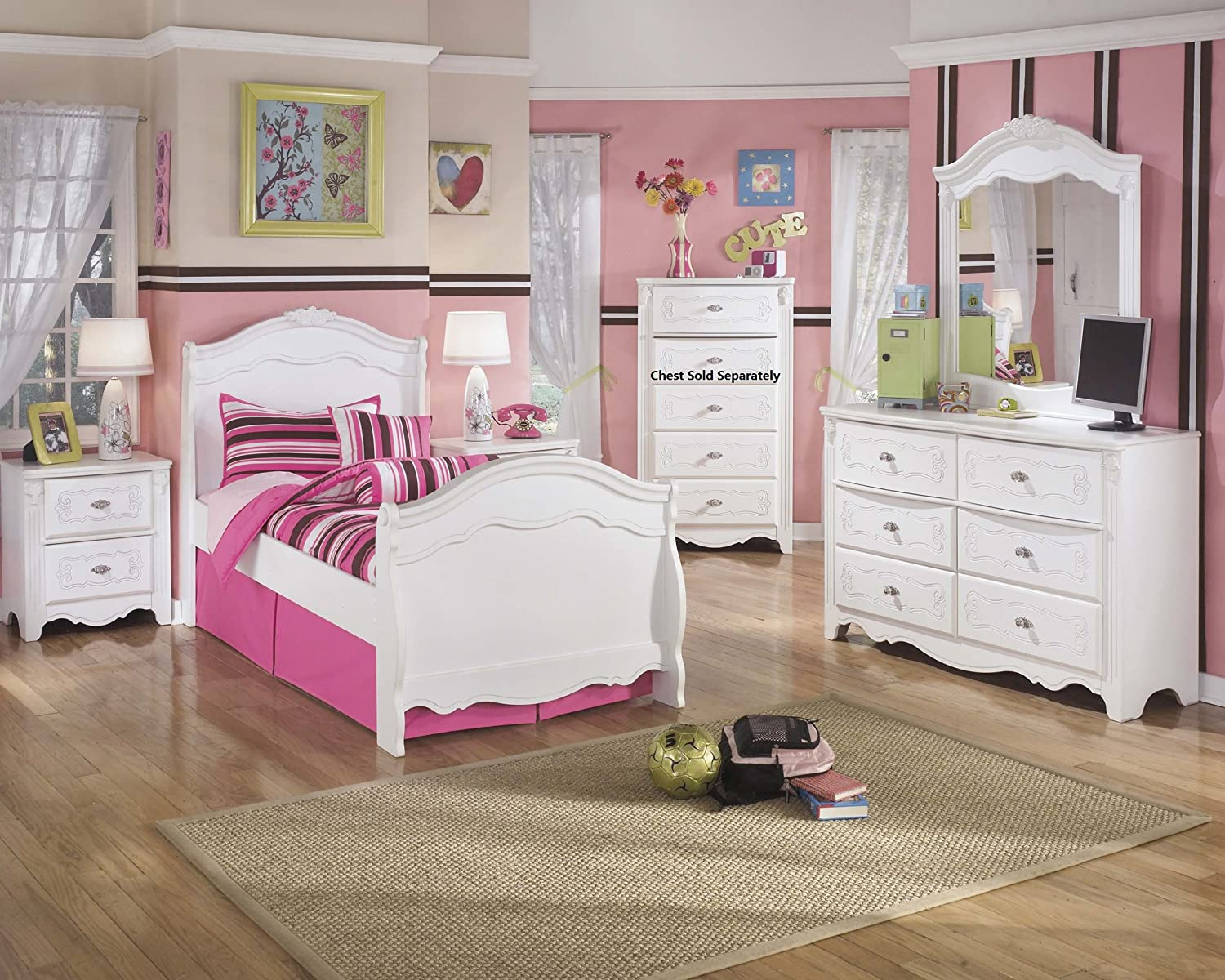 Amazon.com - Exquisite Youth Twin Size Sleigh Bed Room Set in ...