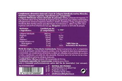 NATURAL BIO Colágeno hidrolizado Magnesio Calcio Vitamina C y D. Colágeno marino hidrolizado con magnesio. Suplementos vitamínicos para tus huesos, ...