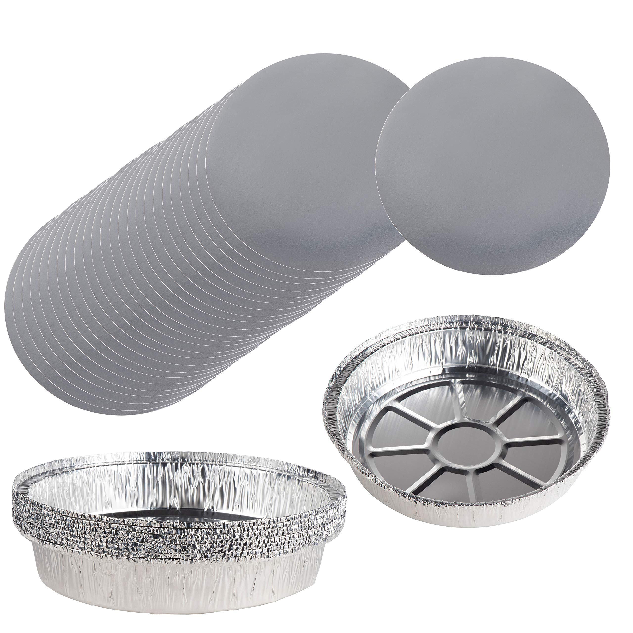 Aluminum Foil Pie Pans - 100-Piece Round Disposable Tin Pans with Flat Board Lids, For Baking, Roasting, Broiling Cooking, For Temperatures Up to 500-F, 9.25 x 2 Inches