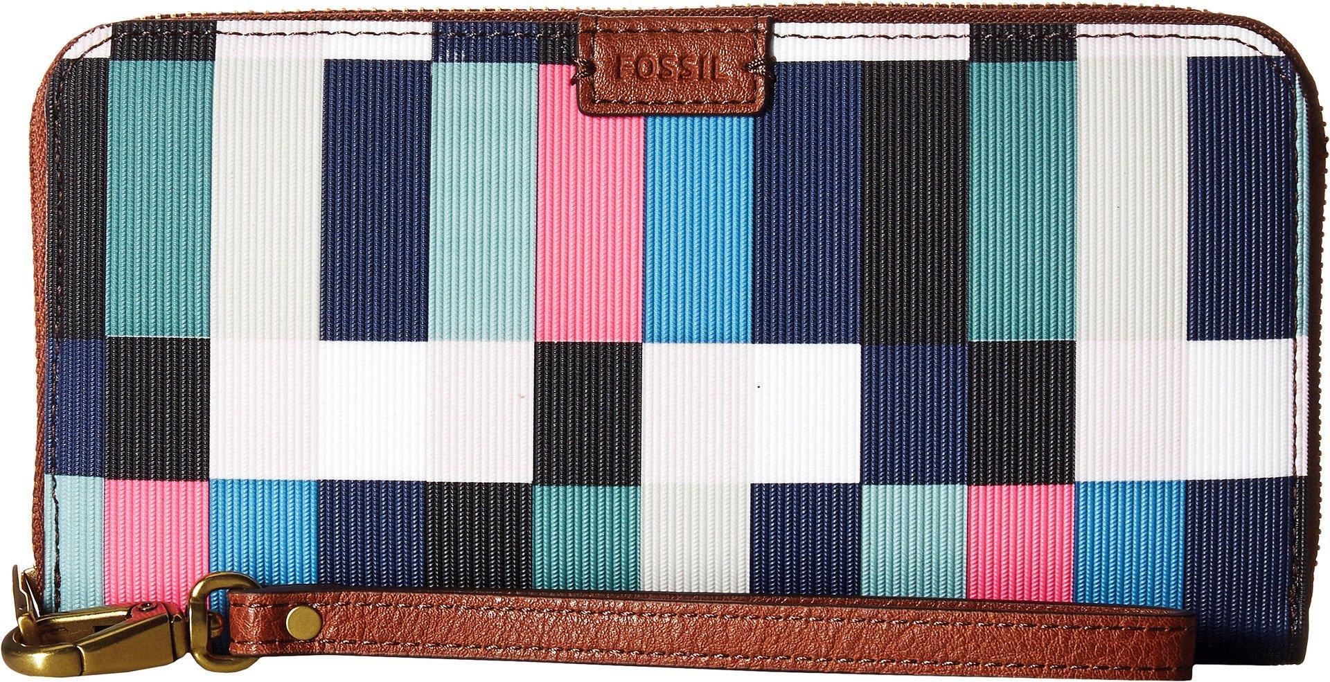 Fossil Emma Rfid Large Zip Wallet, Bright Multi