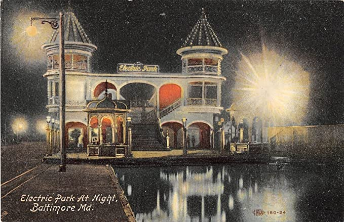 Baltimore Maryland Electric Park At Night General Scene Antique ...