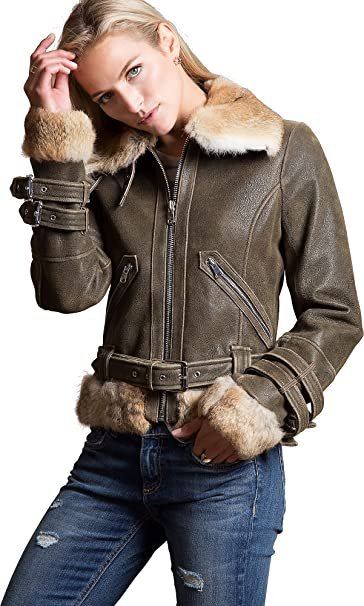 Vintage Coats & Jackets | Retro Coats and Jackets Overland Sheepskin Co Zoe Lambskin Leather Bomber Jacket Rabbit Fur Trim $995.00 AT vintagedancer.com