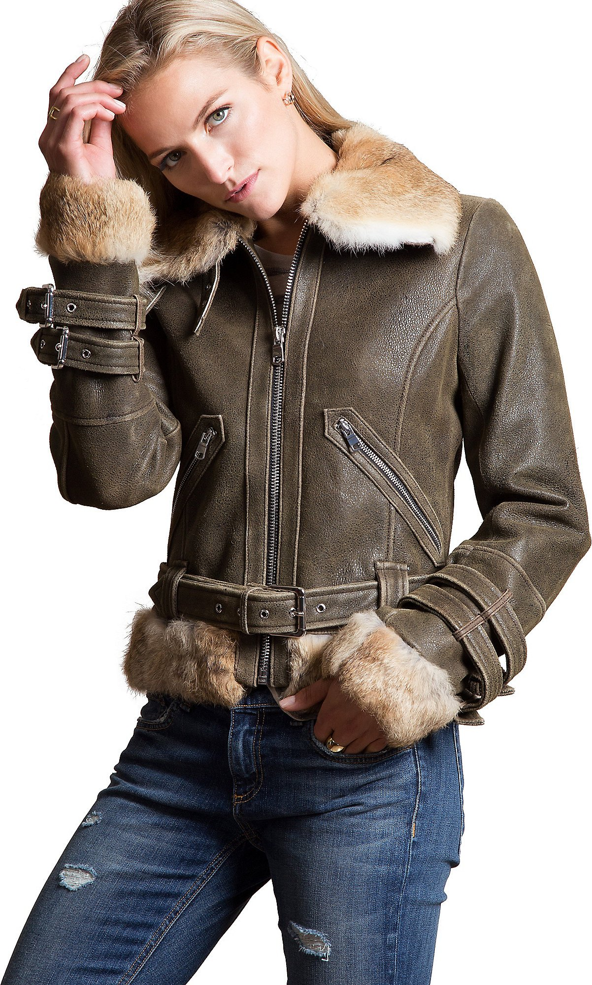 Keagan Lambskin Leather Bomber Jacket with Rabbit Fur Trim, Antique Brown, Size 12