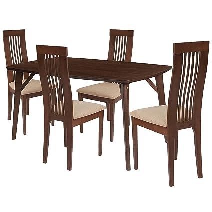 Brilliant Amazon Com Flash Furniture Clybourne 5 Piece Walnut Wood Frankydiablos Diy Chair Ideas Frankydiabloscom