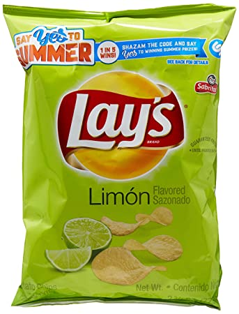Lays Limón Flavored Potato Chips, 2.75 Ounce