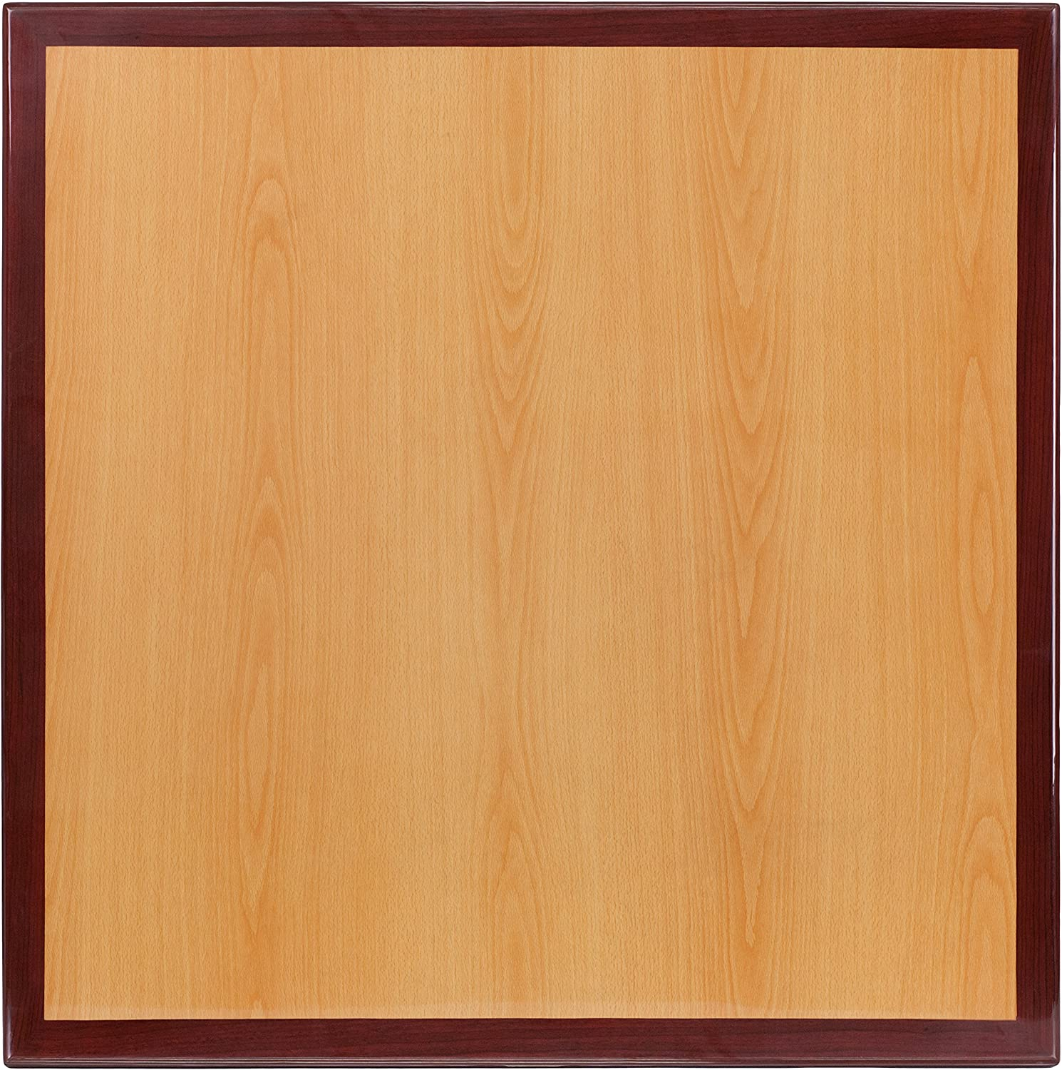 Flash Furniture 48 Round 2-Tone High-Gloss Cherry Mahogany Resin Table Top with 2 Thick Drop-Lip