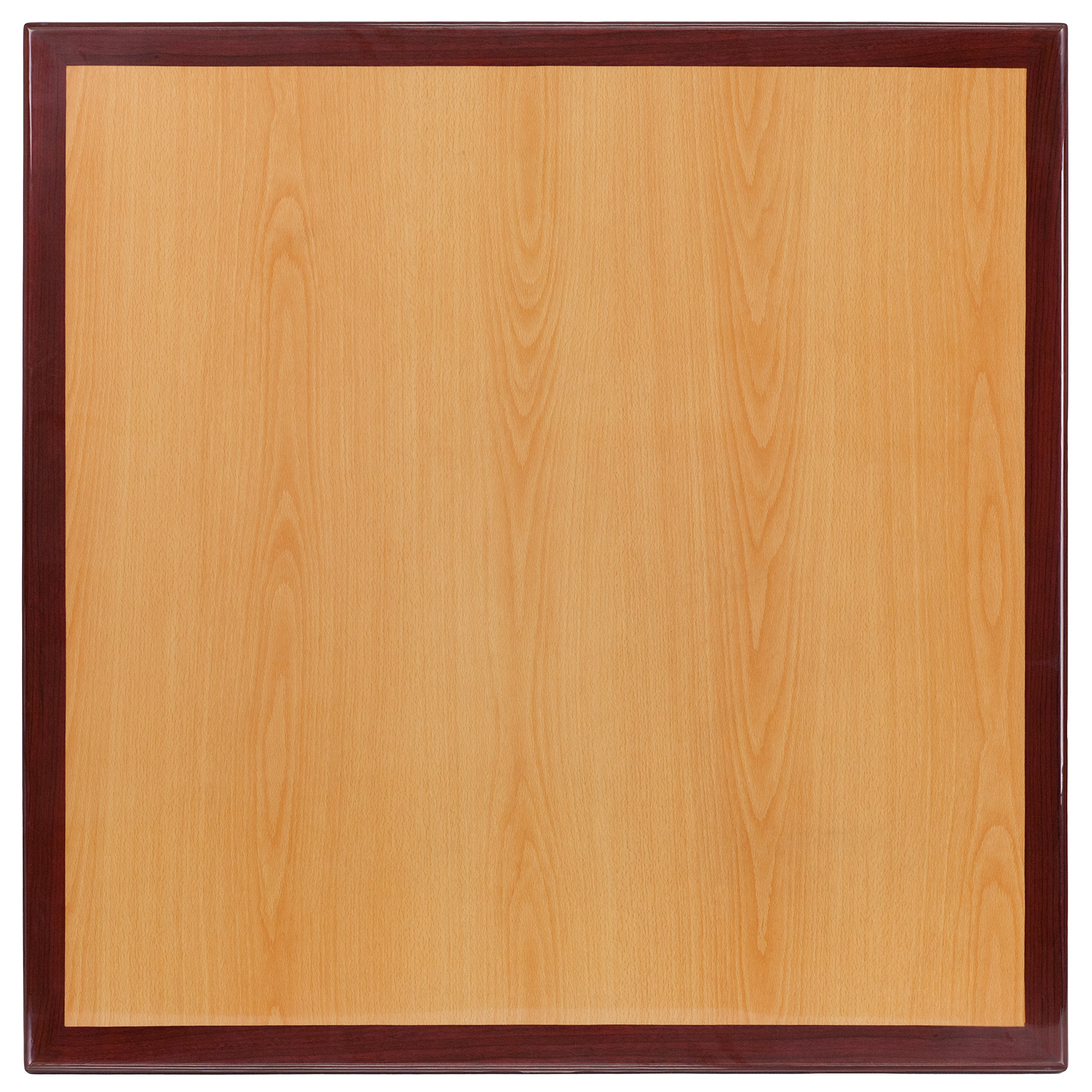 Flash Furniture 24'' Square 2-Tone High-Gloss Cherry / Mahogany Resin Table Top with 2'' Thick Drop-Lip