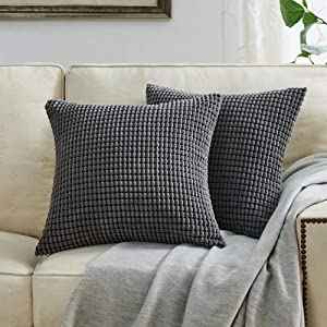 BEBEN Throw Pillow Covers - Set of 2 Pillow Covers 22x22, Decorative Euro Pillow Covers Corn Striped, Soft Corduroy Cushion Case, Home Decor for Couch, Bed, Sofa, Bedroom, Car (Grey, 22x22)