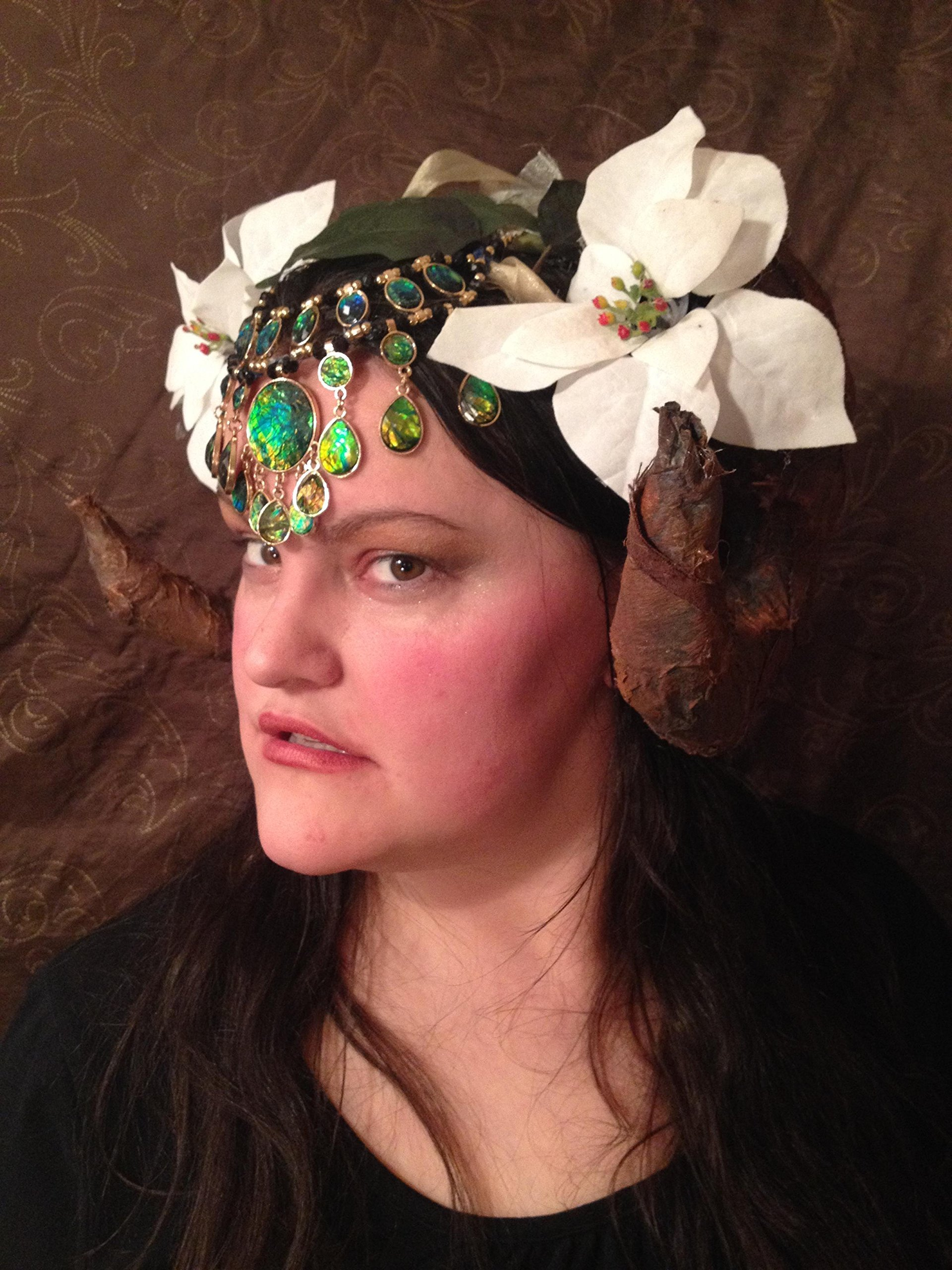 beltane flower goddess headpiece headdress crown fairy may queen celtic festival pagan fairy jewel festival opal horn forest woodland magic
