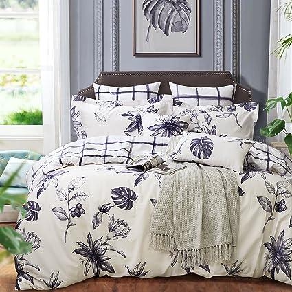Amazon Com Softta White Black Floral Printed Duvet Cover Set 100