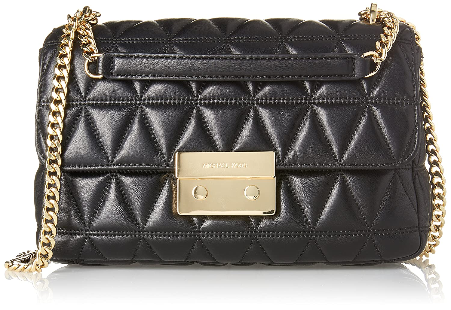 e771ca84169 ... MICHAEL KORS Sloan Black Large Quilted Shoulder Bag  Black quilted  leather Gold tone hardware Leather strap with chain Front clasp fastening  100% ...