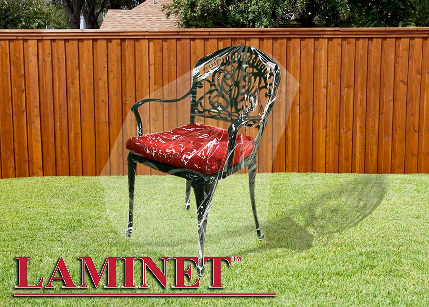 LAMINET Crystal Clear Heavy-Duty Waterproof Plastic Outdoor Furniture Cover - Chair Cover - 3 Season Protection - Keep Rain, Snow & Debris Off! Premium Protection at Economy Price!