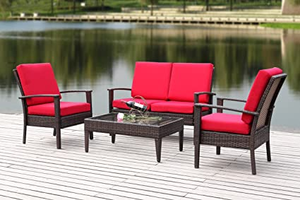 Safavieh 4 Piece Outdoor Collection Myers Patio Set, Brown/Red - Amazon.com : Safavieh 4 Piece Outdoor Collection Myers Patio Set