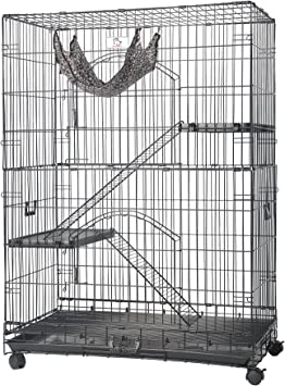 Homey Pet 36 Three Tiers Cat Cage W Pull Out Tray Sleeping Platform And Casters Ct P3w Amazon Ca Pet Supplies